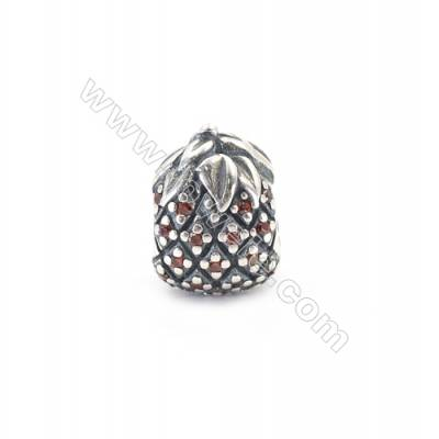 Sterling Silver Cubic Zirconia European Beads, x 1 piece, Pine & Nut, Size 13x10x9 mm, hole 4.5 mm