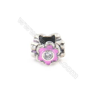 Sterling Silver Cubic Zirconia European Beads, x 1 piece, Pink Floral, Size 10x8 mm, hole 4.5 mm