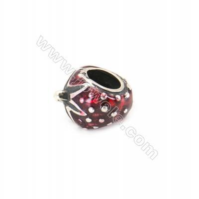 Sterling Silver European Beads, x 1 piece, Milk & Strawberry, Size 12x9x7 mm, hole 5mm