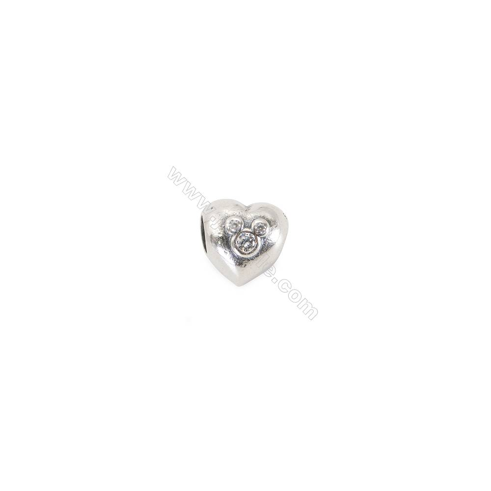 925 Sterling Silver Cubic Zirconia European Beads, x 1 piece, American mouse, Size 10x10x9 mm, hole 4.5 mm