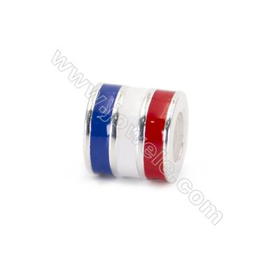 925 Sterling Silver European Beads, x 1 piece, French Flag, Size 9x8 mm, hole 4.5 mm