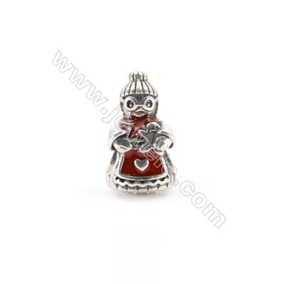 925 Sterling Silver European Beads, x 1 piece, Christmas Granny, Size 13x8x8 mm, hole 4 mm