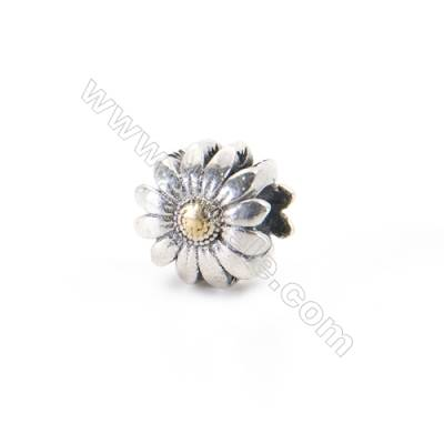 925 Sterling Silver European Beads, x 1 piece, Chrysanthemum, Size 9x6 mm, hole 4 mm