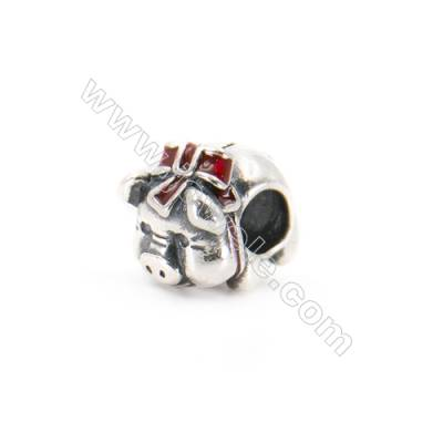 925 Sterling Silver European Beads, x 1 piece, Piggy, Size 12x10x8 mm, hole 4 mm
