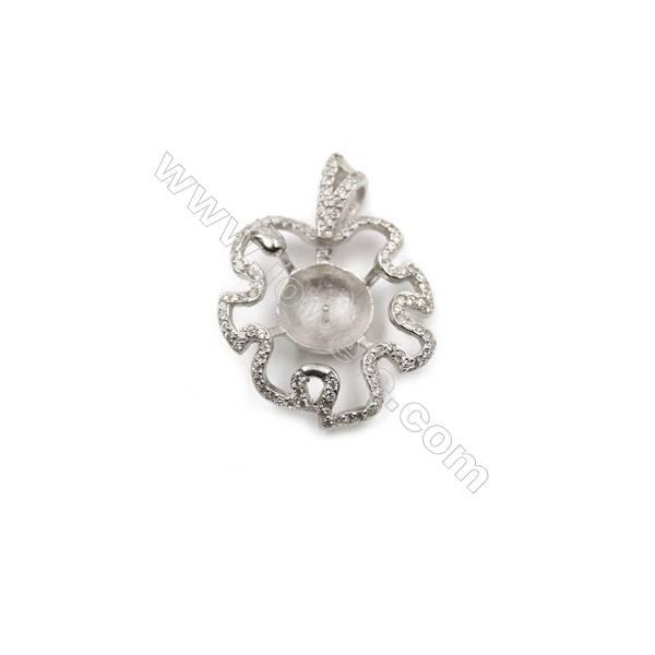 Sterling silver platinum plated zircon pendants, 21x28mm, x 5pcs, Tray 10mm