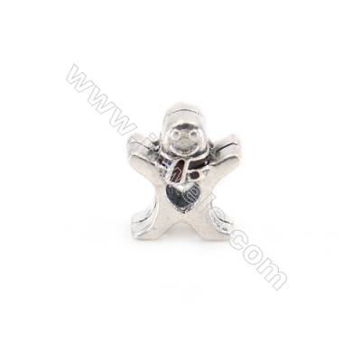 925 Sterling Silver Cubic Zirconia European Beads, x 1 piece, Christmas Snowman, Size 11x10x7 mm, hole 4 mm