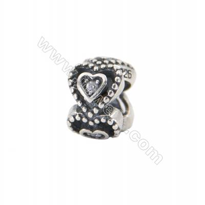 925 Sterling Silver Cubic Zirconia European Beads, x 1 piece, Heart, Size 10x7 mm, hole 4.5 mm