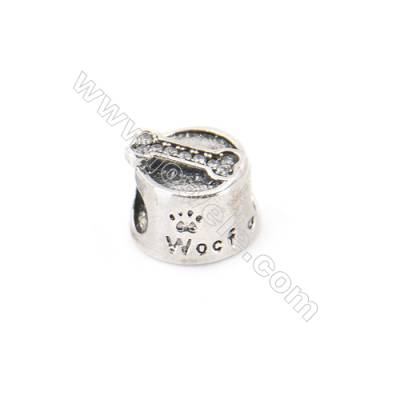 925 Sterling Silver Cubic Zirconia European Beads, x 1 piece, Dog Dish, Size 10x8 mm, hole 4.0 mm