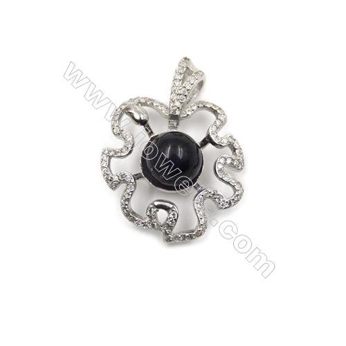 Sterling silver platinum plated zircon pendants-D5760 21x28mm x 5pcs  Disc Diameter 10mm