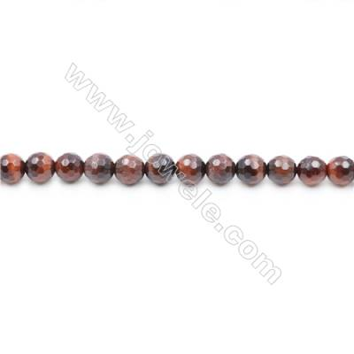 Faceted Red Tiger Eye Beads Strands  Round   diameter 6mm  Hole: 1mm  about 62 beads/strand  15~16''