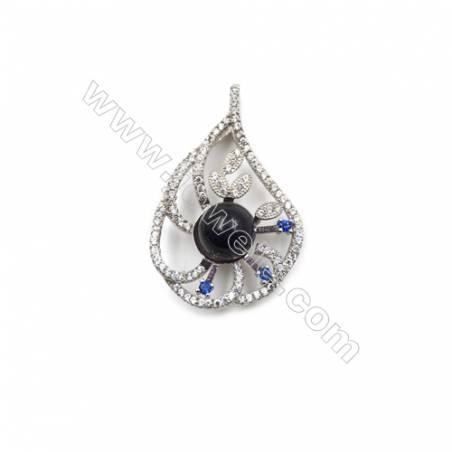 Platinum plated sterling silver 925 zircon jewelry pendants -D5721 21x33mm x 5 discs diameter 9 mm
