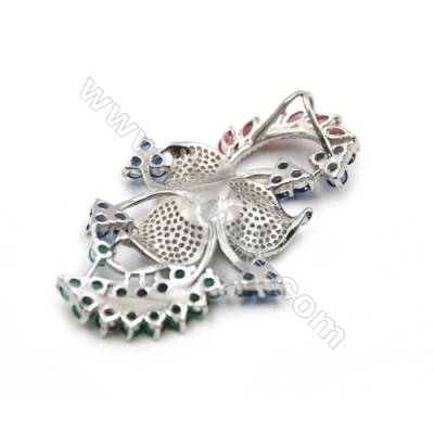 Fashion platinum plated sterling silver zircon pendants sterling silver-D5507 39x57 mm x 2pcs disc diameter 9mm
