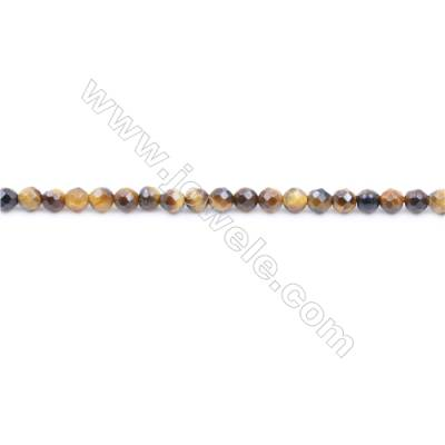 Faceted Yellow Tiger Eye Beads Strand Round diameter 3mm  Hole: 0.8mm  about 126 beads/strand  15~16''