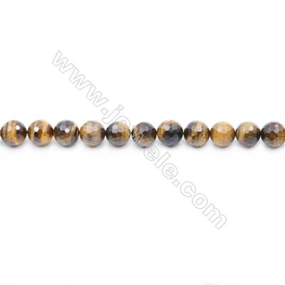 Faceted Yellow Tiger Eye Beads Strand Round diameter 8mm  Hole: 1mm  about 48 beads/strand  15~16''