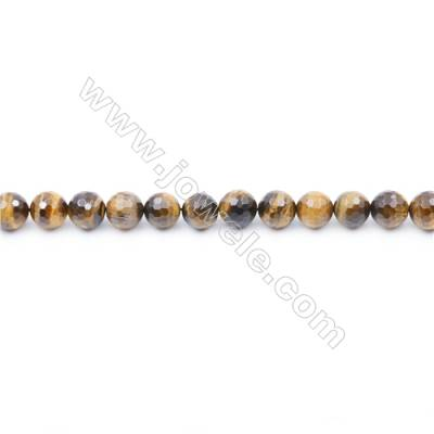 Faceted Yellow Tiger Eye Beads Strand Round diameter 10mm  Hole: 1mm  about 38 beads/strand  15~16''