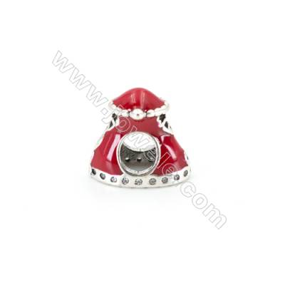 Sterling Silver Cubic Zirconia European Beads, x 1 piece, Christmas hat, Size 12x7mm, hole 4.5mm
