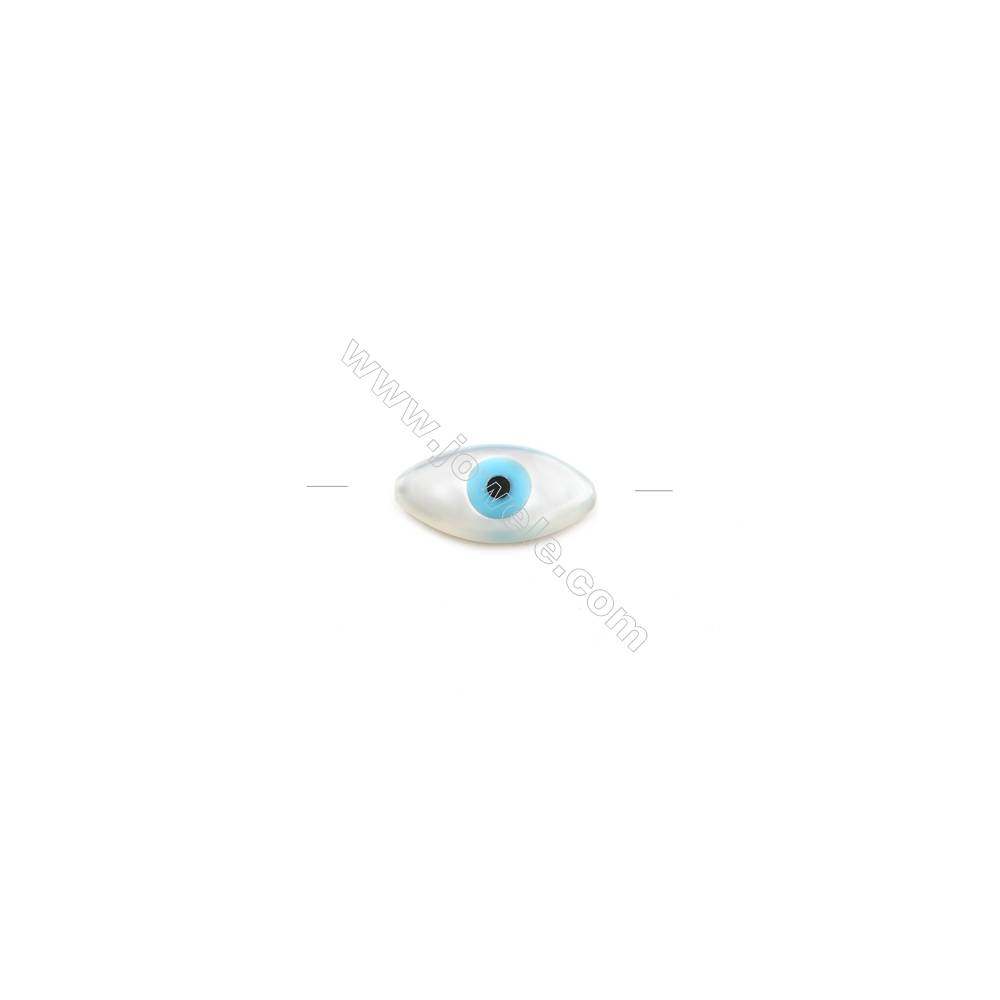 Nazar (blue eye) made of white mother-of-pearl, 5x10mm, hole 0.8mm, 30pcs/pack