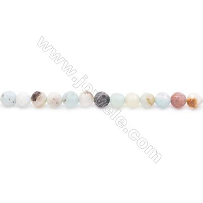Natural Mix Colors Amazonite Beads Strands  Faceted Round  Diameter 4mm  Hole: 0.8mm  about 99 beads/strand  15~16''