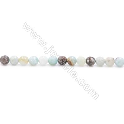 Natural Mix Colors Amazonite Beads Strands  Faceted Round  Diameter 6mm  Hole: 1mm  about 67 beads/strand  15~16''