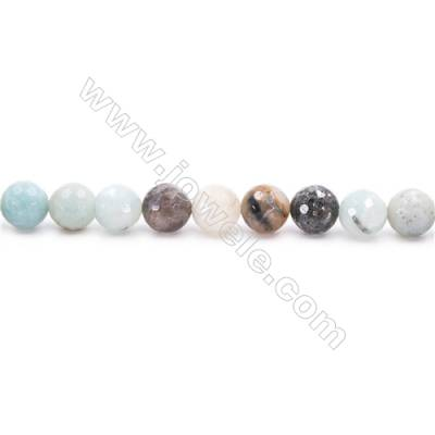 Natural Mix Colors Amazonite Beads Strands  Faceted Round  Diameter 8mm  Hole: 1mm  about 49 beads/strand  15~16''