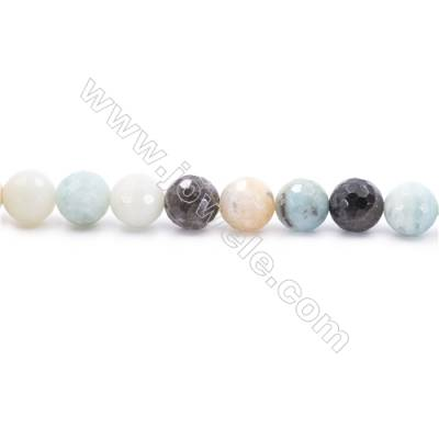 Natural Mix Colors Amazonite Beads Strands  Faceted Round  Diameter 10mm  Hole: 1.2mm  about 39 beads/strand  15~16''