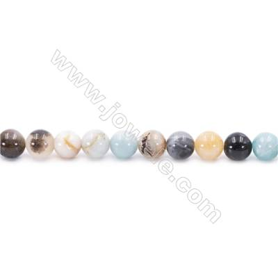 Natural Mix Colors Amazonite Beads Strands  Round  Diameter 8mm  Hole: 1mm  about 51 beads/strand  15~16''