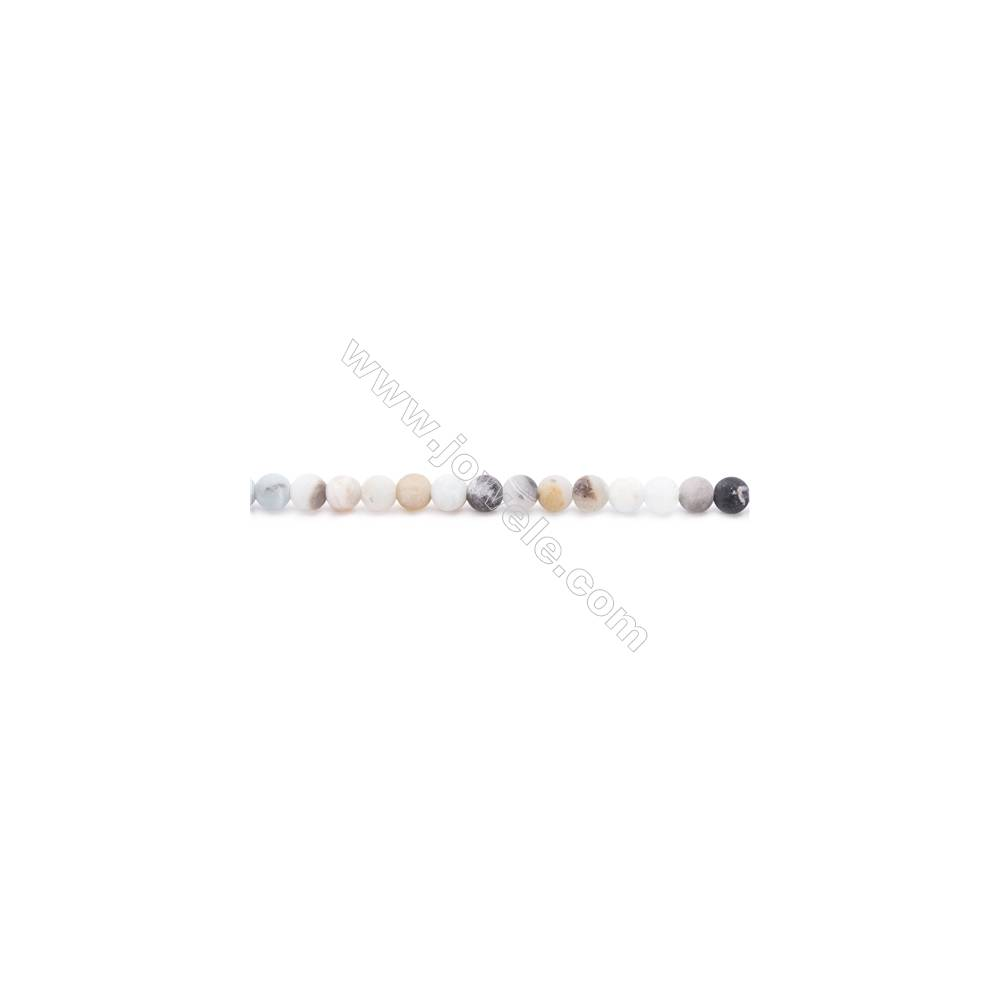 Natural Mix Color Frosted Amazonite Beads Strands  Round  Diameter 4mm  Hole: 0.8mm  about 97 beads/strand  15~16''
