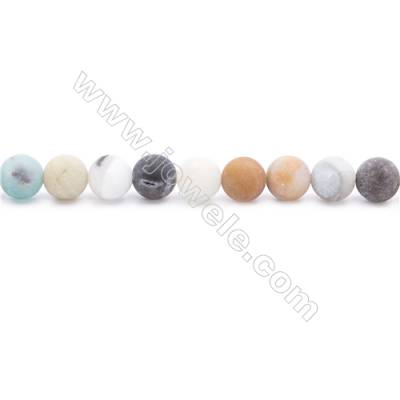 Natural Mix Color Frosted Amazonite Beads Strands  Round  Diameter 8mm  Hole: 1mm  about 50 beads/strand  15~16''