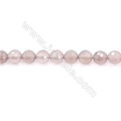 Natural Grey Agate Beads Strand  Faceted Round  diameter 8mm  Hole: 1mm  about 48 beads/strand  15~16''