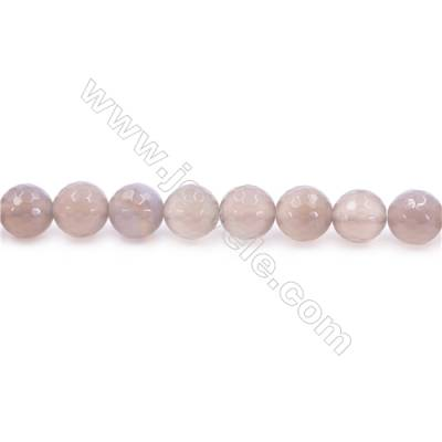 Natural Grey Agate Beads Strand  Faceted Round  diameter 10mm  Hole: 1.5mm  about 39 beads/strand  15~16''