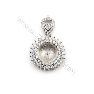 925 Sterling silver platinum plated CZ pendant jewerly-D5730 19mm x 5pcs disc diameter 11mm