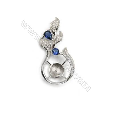 Sterling silver  platinum plated  zircon pendant, 19x38mm, x 5mm, Tray 9mm