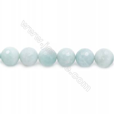 Natural Faceted Amazonite Beads Strands  Round  Diameter 10mm  Hole: 1.2mm  about 32 beads/strand  15~16''