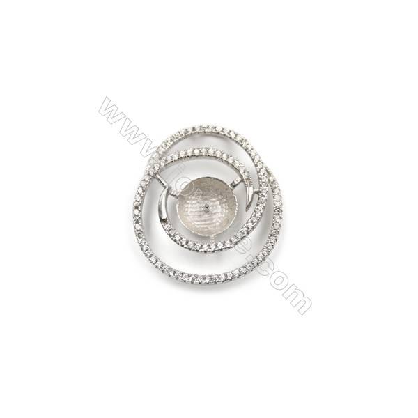 925 Sterling silver platinum plated zircon pendants, 23x26mm, x 5pcs, Tray 10mm