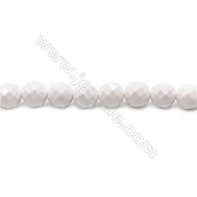 Natural White Agate Beads Strand  Faceted Round  Diameter 10mm   hole 1mm   about 39 beads/strand 15~16""