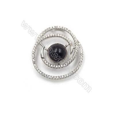 925 Sterling silver platinum plated zircon pendants-D5757 23x26mm x 5 disc diameter 10mm
