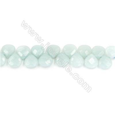 Natural Faceted Flat Amazonite Beads Strands  Teardrop   Size 10x10mm  Hole: 1mm  about 40 beads/strand