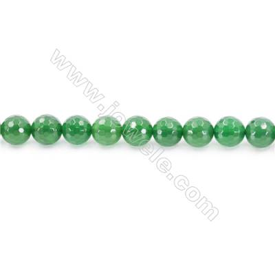 Natural Green Agate Beads Strand Faceted Round  Diameter 10mm  Hole: 1mm  about 39 beads/strand  15~16''