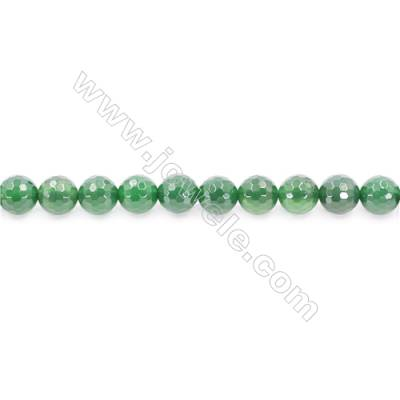Natural Green Agate Beads Strand Faceted Round  Diameter 12mm  Hole: 1.5mm  about 33 beads/strand  15~16''