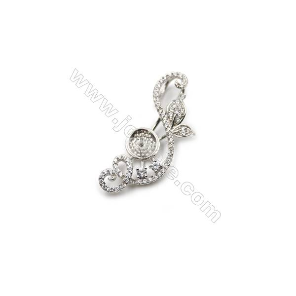 Platinum plated 925 sterling silver with zircon pendants, 13x33mm, x 5pcs, Tray 9mm