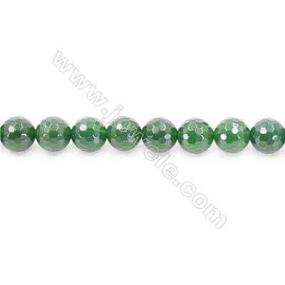 Natural Green Agate Beads Strand Faceted Round  Diameter 14mm  Hole: 1.5mm  about 28 beads/strand  15~16''