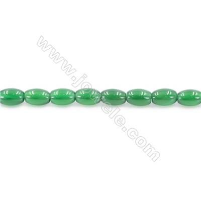 Natural Green Agate Beads Strand  Horse Eye  Size 6x9mm  Hole: 1mm  about 44 beads/strand  15~16''