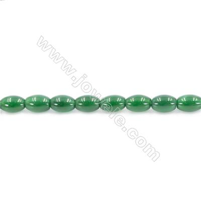 Natural Green Agate Beads Strand  Rice  Size 8x12mm  Hole: 1mm  about 33 beads/strand  15~16''