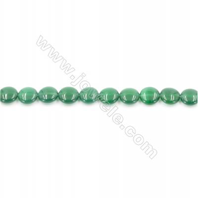 Natural Green Agate Beads Strand  Flat Round  Diameter 10mm  Hole: 1mm  about 40 beads/strand  15~16''