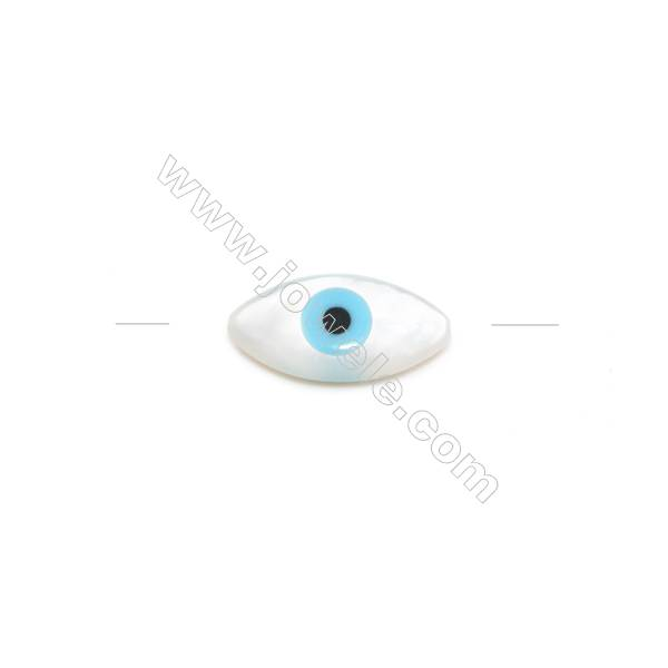 Nazar (blue eye) made of white mother-of-pearl, 7x14mm, hole 0.8mm, 20pcs/pack