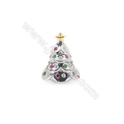 925 Sterling Silver Cubic Zirconia European Beads, x 1 piece, Christmas tree, Size 14x11 mm, hole 4.5 mm
