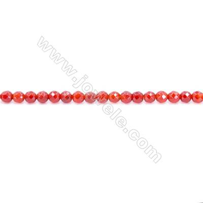 Natural Red Agate Beads Strand  Faceted Round Diameter 3mm  Hole: 0.8mm  about 132 beads/strand  15~16''