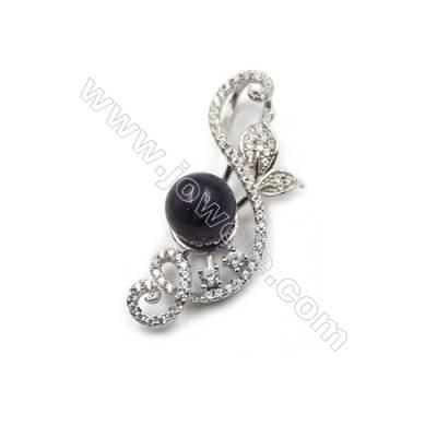 Platinum plated 925 sterling silver with zircon pendants -D5409 13x33mm x 5pcs disc diameter 9mm