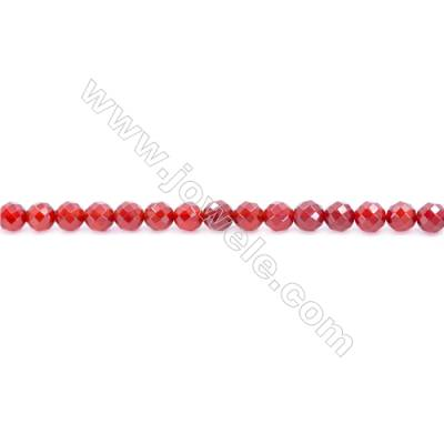 Natural Red Agate Beads Strand  Faceted Round Diameter 6mm  Hole: 1mm  about 64 beads/strand  15~16''