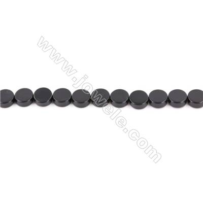 Natural Black Agate Beads Strand  Flat Round  Diameter 8mm  Hole: 1mm  about 50 beads/strand  15~16''